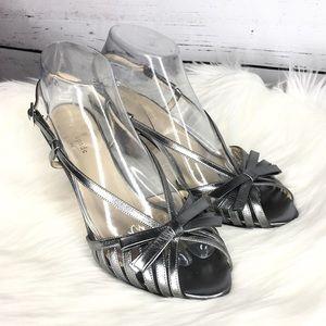 Kate Spade Leather Metallic Bow Peep Toe Heel Prom